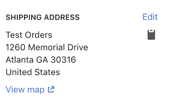 Customer's Shipping Address Information